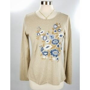 Sundance Tan Floral Embroidered Long Sleeve Tee Md